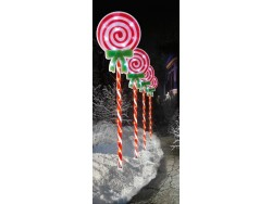 Path Lights Set 4 Candy Cane with Green Bow