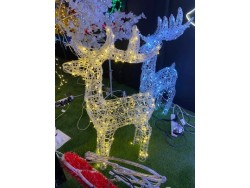 REINDEER LARGE 1.4M  SOFT ACRYLIC ICE WHITE