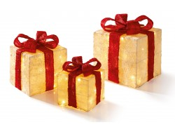 Present set 3 gold with red bows
