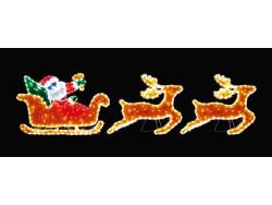 Santa Sleigh & 2 Reindeers Twinkling Leds