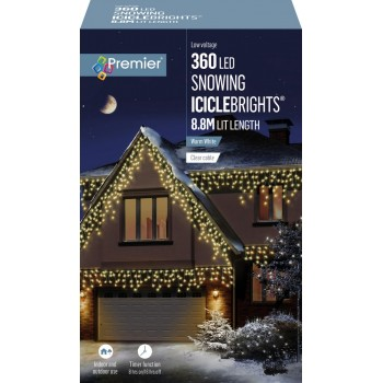 ICICLE LIGHTS WARM WHITE 8.8M LEDS SNOWING
