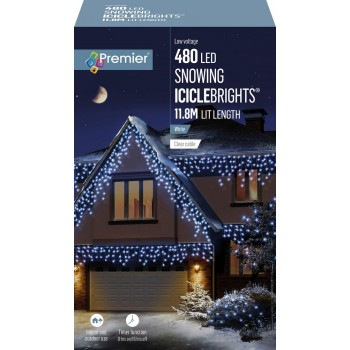 ICICLE LIGHTS ICE WHITE 11.8M LEDS SNOWING