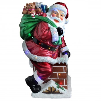 Santa on Chimney Large Resin NT