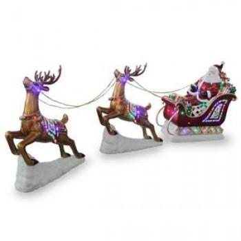 Santa in Sleigh with 2 Reindeers Large Resin NT