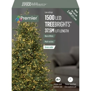 Tree Brights 1500 on 37.5m WARM WHITE CLEAR CABLE